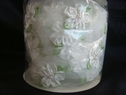 10 yards roll Wrights Organza ribbon White w/ Light Green Floral Design 1 1/2  wide