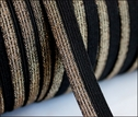 Wholesale100 Yards Black and Gold Iridescent Thread Fold Over Elastic 1/2 W