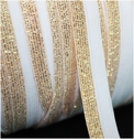 100 yards White and Gold Iridescent Fold Over Elastic Trim 5/8 W