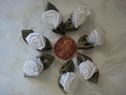 12  pieces white flower satin rose  ribbon applique 1 1/8