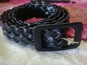 1pc black braided faux leather belt 43 inches long 1  inch wide