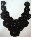 1Pc Black Tulle Cord Embroidered Applique w/ Black Gems