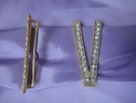 1pc clear rhinestone gold metal V shape buckle 3 1/8 inch