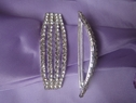 1pc clear rhinestone silver metal buckle 3 1/8 inch