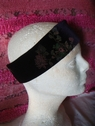 1pc floral eggplant stretch velvet headband 10 1/4 inch