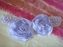 1pc lilac tulle chiffon embroidered rose pearl beads applique A1