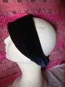 1pc navy blue stretch velvet headband 10 1/2 inch