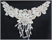 1pc off white floral venice pearl beaded fringe sequins applique (A8)