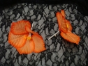 Orange silk artificial flower brooch pin 5 3/4 Halloween decoration