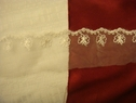 pre cut off white floral double scalloped embroidered organza trim