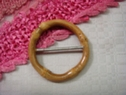 Wooden Light Brown Circle Buckle