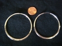 1pr sterling silver flat hoop earrings 2 1/4 diameter