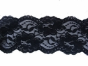 1Y Black Floral Double Scalloped Stretch Lace Trim 3 1/2 W S-4-7