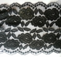 Black Floral Double Scalloped Stretch Wide  Lace Trim 6 W S6-1-140