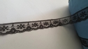 Black Floral Scalloped Lace Narrow Edge  Trim 3/4 W L 1-3
