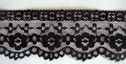 1Y Black Floral Scalloped Lace Trim 2 W L8-5