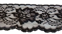 1Y Black Floral Scalloped Lace Trim 3 1/8 W