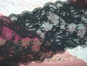 1Y Black Floral Scalloped Stretch Lace 6 1/2 W S6-5
