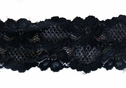 Black Floral Embossed 3 D Scalloped Stretch Lace Trim 2 1/2 W S-6-4