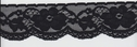 1Y Black Floral Scalloped Stretch Lace Trim 2   W S3-10