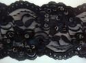 Black Floral Scalloped Stretch Lace w/ Black Sequins 3 3/4 W