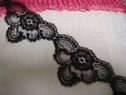 1Y Black Floral Soft Scallop Lace Trim 2 3/4 W L7-1
