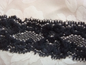 Black Scallop Stretch Embossed Lace Trim 1 inch W S-8-1