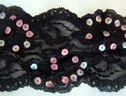 Black Sequin Stretch Lace Trim 3 1/2 W  L10-2