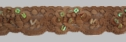Brown stretch lace trim w/ Iridescent sequins and bugles 1 1/4 W