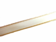 Double Sided Satin Ivory Ribbon with Gold Edges 3/8 W