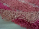 Dusty Rose Stretch Beaded Scalloped Pearl Silver Sequins Trim 1 5/8 W