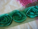 pre cut 1y green rose embroidered tulle trim 3 inches wide