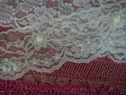 Ivory Floral Scalloped with satin rose sew on embossed 3D Trim Lace 2 5/8 W. Beaded