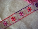 1y multi-color floral embroidered organza trim red purple lavender 1 inch wide