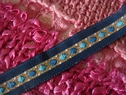 navy blue gold off white diamond stripe jacquard ribbon 1/2 inch wide