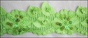 Neon Green Stretch Lace w/ Sequins and Bugled Trim 2 1/4 W