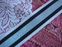 Nylon Mesh Striped Ribbon Trim-- Baby Blue, Black and White Stripes 1 1/2 inch