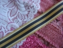 Nylon Woven Striped Ribbon Trim- Shiny Gold, Off White, and midnight blue Blue Stripes 1 inch wide
