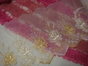 Off white gold rose embroidered scalloped tulle 7 3/4 inch wide