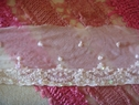 Pale Pink Mesh Embroidered Beaded Sequins Lace Trim 3 1/2 W
