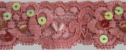 1Y Pink iridescence flat sequence and clear bugle stretch lace trim 1 1/16 W