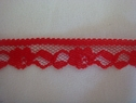 Narrow Red Floral Scalloped Lace Trim 1/2 W L 7-8