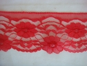 Red Floral Scalloped Lace Trim 2 5/8 W L 2-2