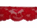 Red Scalloped Floral Lace Trim 2 1/4 W L 3-1