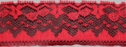 1Y Red scalloped lace trim 1 W