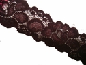 1Y Two Tone Shiny Brown Stretch Lace Trim 1 1/2 W #S-2-2
