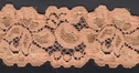1Y Two Tone Shiny Matte Peach Floral Scalloped Stretch Lace Trim 1 1/2 W #S-2-2