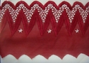 1Y Unique Burgundy & White Mesh Embroidered Scalloped Trim 4 1/2 W