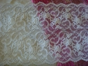 White Double Scalloped Floral Stretch wide  Lace Trim 6 W S 6-1