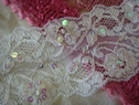 White Double Scalloped Sequins Stretch Lace Trim 3 1/4 W L 10-10